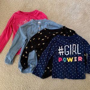Set of 4: Sz 5/5t little girl long sleeve t-shirts